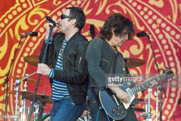 Scott Weiland and Dean DeLeo of Stone Temple Pilots perform on stage on the last day of the Download Festival at Donington Park on June 13 2010 in...