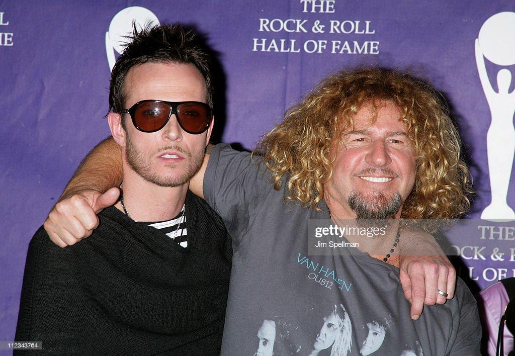 Scott Weiland of Velvet Revolver, presenter, and Sammy Hagar of Van Halen, inductee