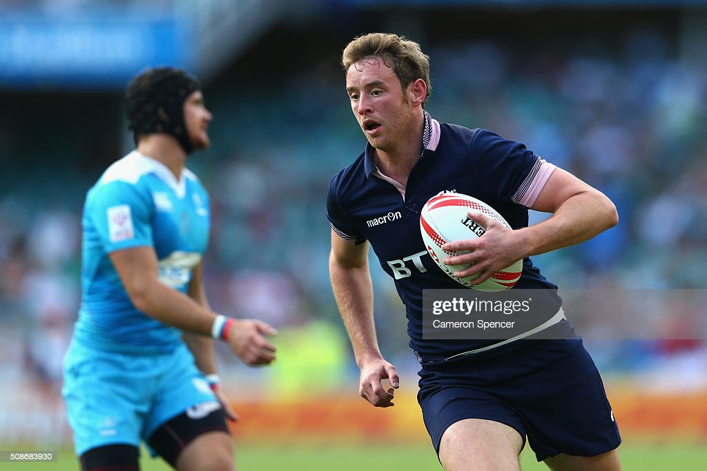 Scott Wight of Scotland heads for the tryline during the 20146 Sydney Sevens match between Russia and Scotland at Allianz Stadium on February 6, 2016 in Sydney, Australia.