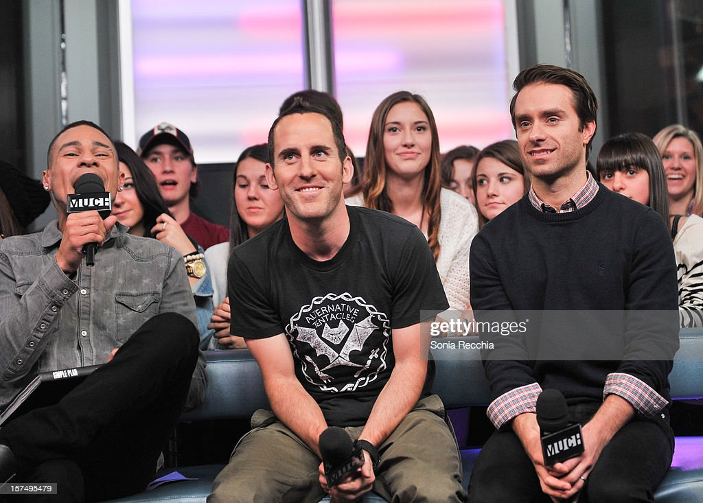 Scott Willats, Chuck Comeau and Sebastien Lefebvre attend MuchMusic Headquarters on December 3, 2012 in Toronto, Canada.