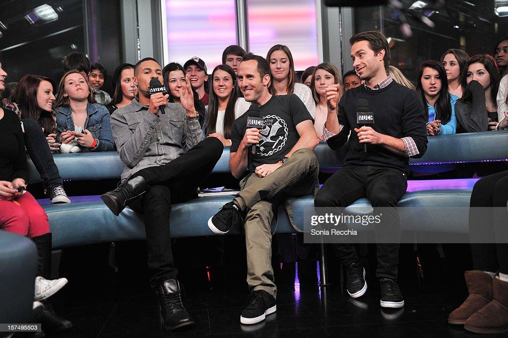 Scott Willats, Chuck Comeau and Sebastien Lefebvre attend MuchMusic Headquarters on December 3, 2012 in Toronto, Canada.