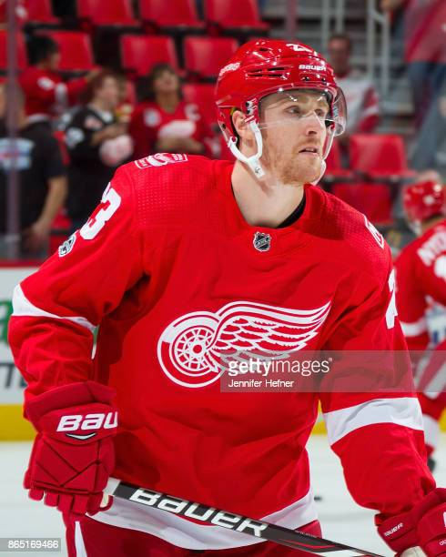Scott Wilson of the Detroit Red Wings Skates in warmups prior to his first NHL game as a Red Wing against the Vancouver Canucks at Little Caesars...