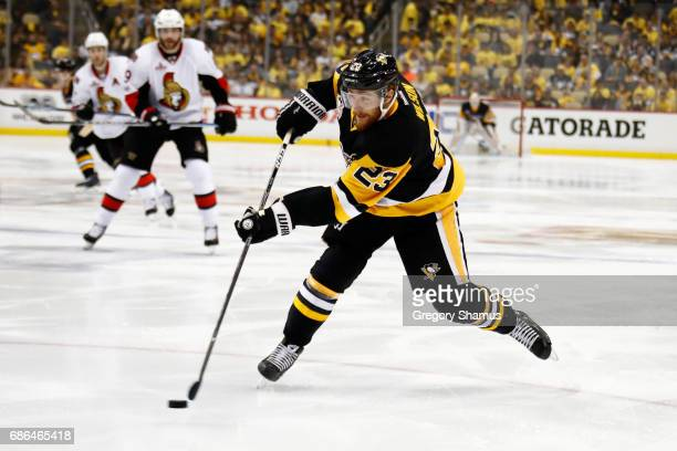 Scott Wilson of the Pittsburgh Penguins shoots the puck against the Ottawa Senators in Game Five of the Eastern Conference Final during the 2017 NHL...