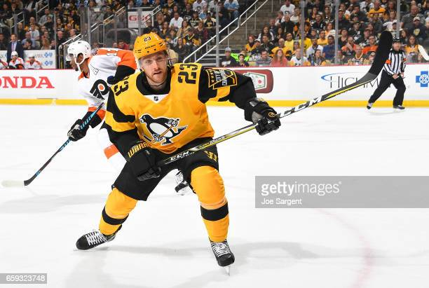 Scott Wilson of the Pittsburgh Penguins skates against the Philadelphia Flyers at PPG Paints Arena on March 26 2017 in Pittsburgh Pennsylvania