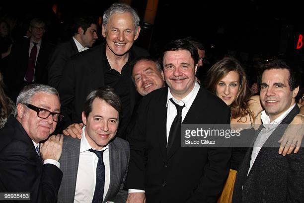 Scott Wittman Matthew Broderick Victor Garber Marc Shaiman Nathan Lane Sarah Jessica Parker and Mario Cantone attend the opening night party for...