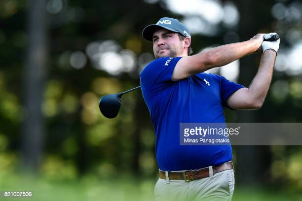Scott Wolfes hits his tee on the first hole during round three of the Mackenzie Investments Open at Club de Golf Les Quatre Domaines on July 22 2017...