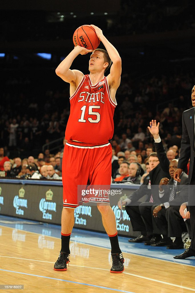 Scott Wood #15 of the North Carolina Wolfpack takes a jump shot during the Jimmy V Classic college basketball game against the Connecticut Huskies on December 4, 2012 at Madison Square Garden in New York, New York. The Wolfpack won 69-65.