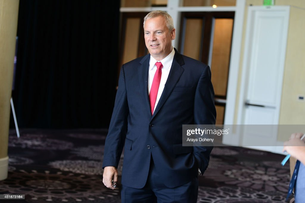 Scott Woodward, Ovation, SVP of Programming and Production poses backstage for the Ovation TV's 'Young Marvels' panel of the 2014 Summer Television Critics Association at The Beverly Hilton Hotel on July 8, 2014 in Beverly Hills, California.