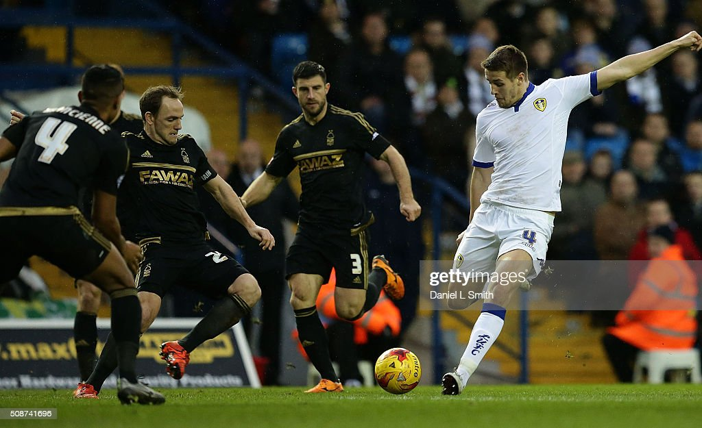 <a gi-track='captionPersonalityLinkClicked' href=/galleries/search?phrase=Scott+Wootton&family=editorial&specificpeople=7751908 ng-click='$event.stopPropagation()'>Scott Wootton</a> of Leeds United FC attempts an ambitious shot on goal during the Sky Bet Championship match between Leeds United and Nottingham Forest on February 6, 2016 in Leeds, United Kingdom.