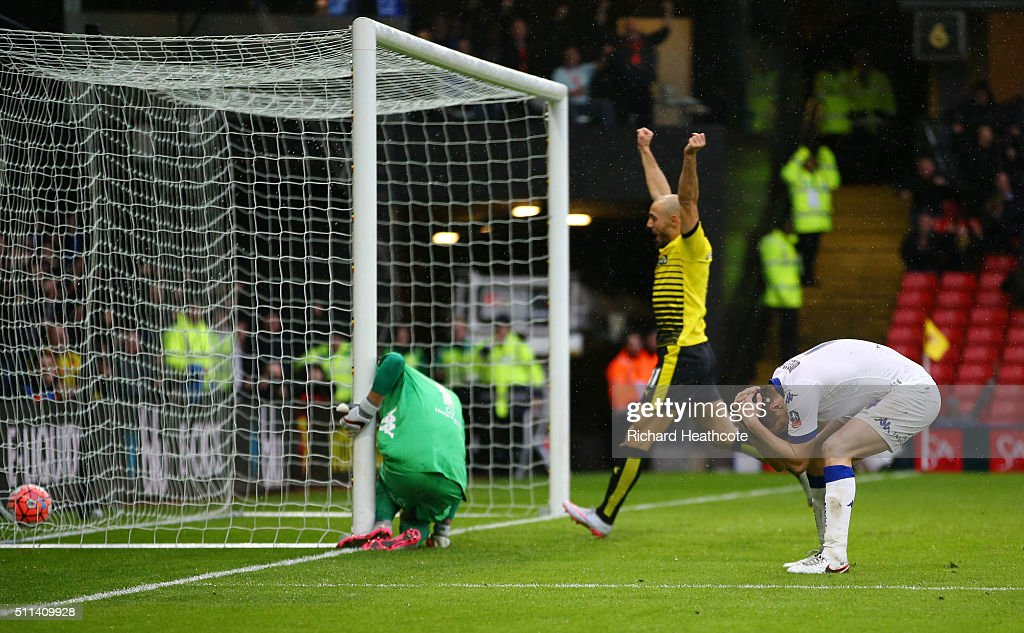 Scott Wootton of Leeds United reacts after his own goal during the Emirates FA Cup fifth round match between Watford and Leeds United at Vicarage...