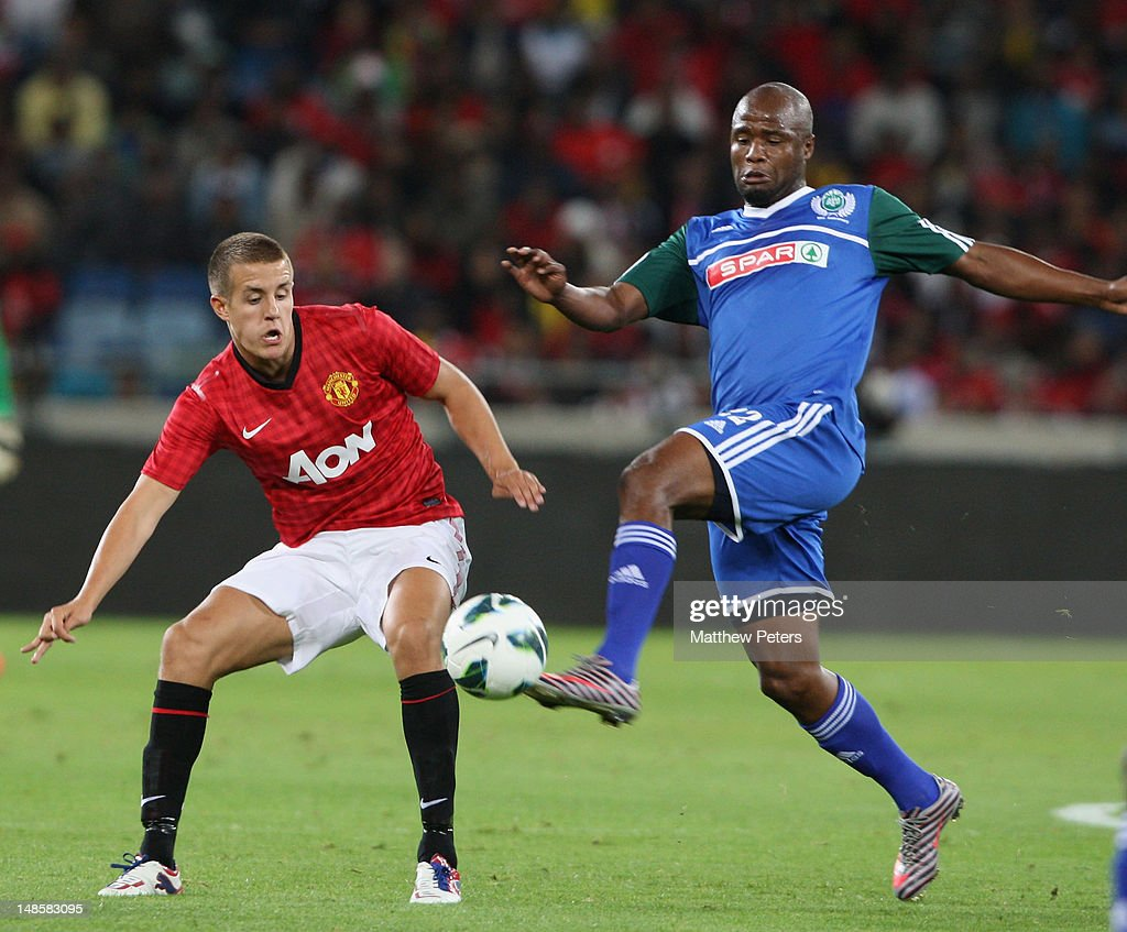 Scott Wootton of Manchester United in action during the pre-season friendly between AmaZulu FC and Manchester United at Moses Mabhida Stadium on July 18, 2012 in Durban, South Africa.