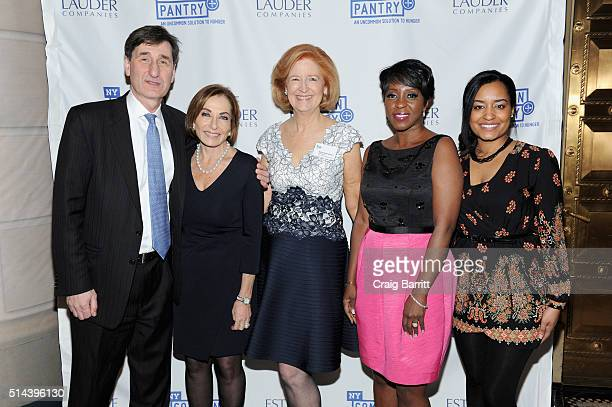 Scott Zemser Sara Moss Sherrell Andrews Cheryl Wills and Brittany Bell attend the New York Common Pantry's March 8 2016 FILL THE BAG BENEFIT at...