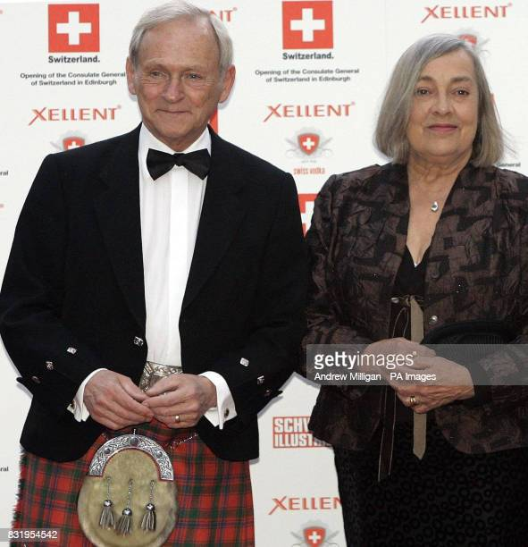 Scottiah Parliament presiding officer George Reid and partner arrive at the Royal Yacht Britannia in Edinburgh to celebrate the Birthday of Ursula...