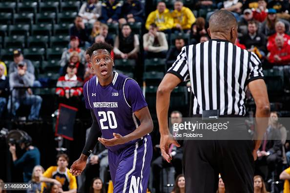 Scottie Lindsey of the Northwestern Wildcats reacts after being called for a foul against the Michigan Wolverines in the second round of the Big Ten...