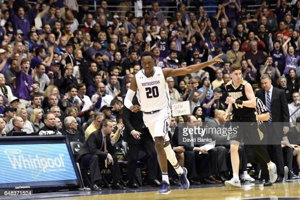 Scottie Lindsey of the Northwestern Wildcats reacts after making a threepoint basket against the Purdue Boilermakers during the first half on March 5...