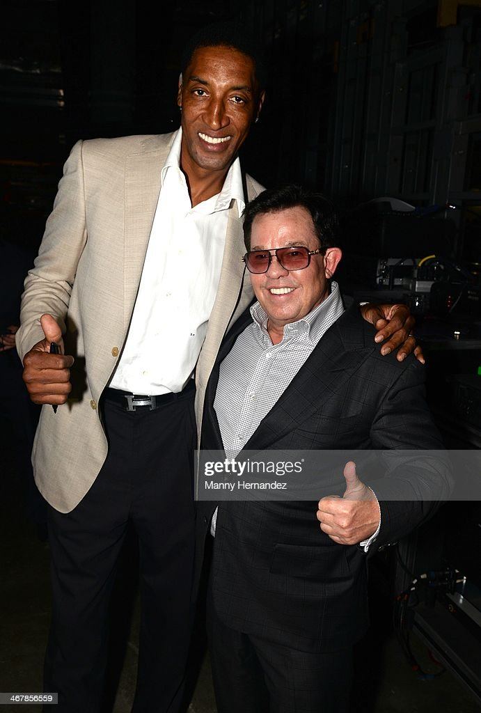 Scottie Pippen and JR Ridinger at the 2014 Market America World Conference at American Airlines Arena on February 8, 2014 in Miami, Florida.