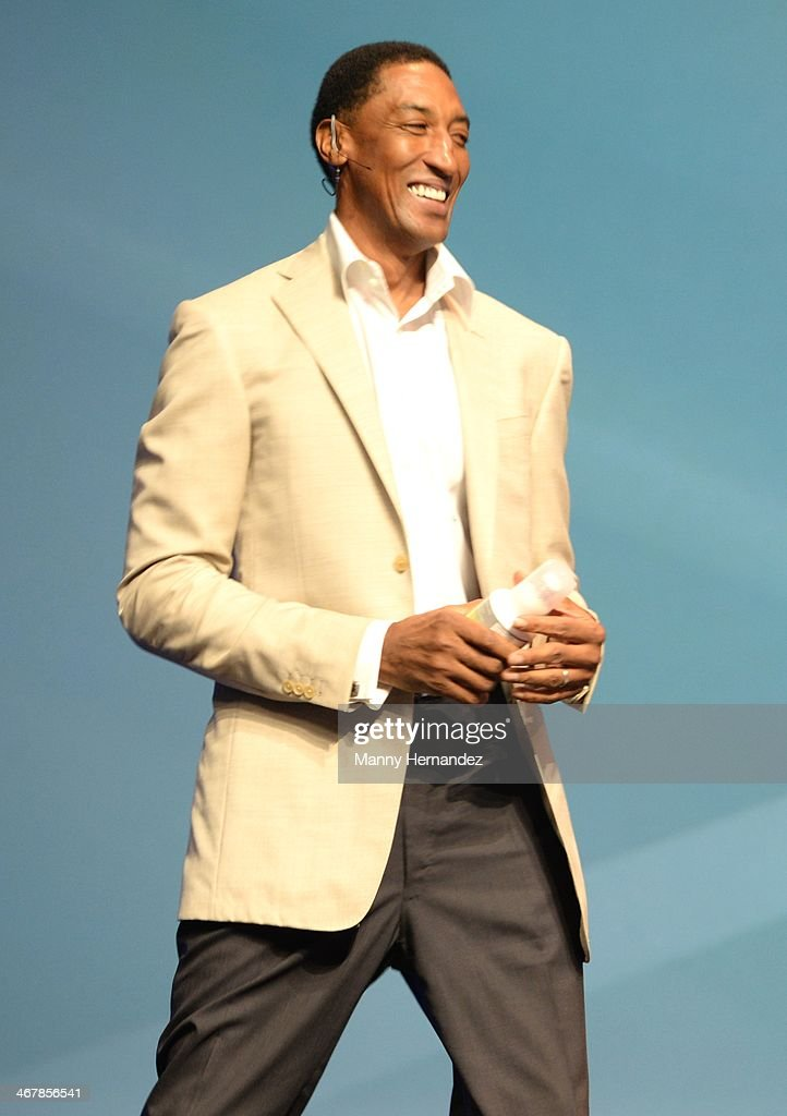 Scottie Pippen at the 2014 Market America World Conference at American Airlines Arena on February 8, 2014 in Miami, Florida.