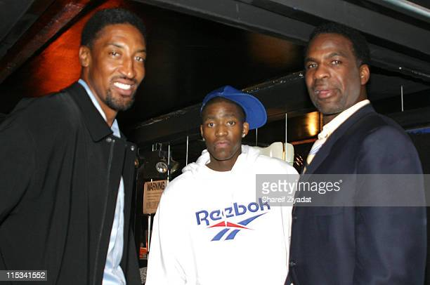 Scottie Pippen Jamal Crawford and Charles Oakley during Allan Houston Birthday Party at Supper Club in New York City New York United States