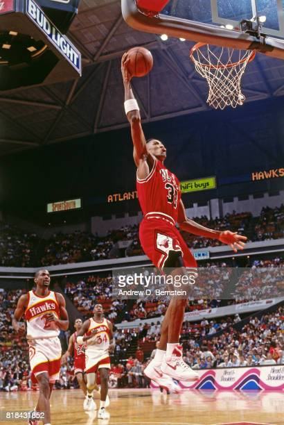 ATLANTA GA Scottie Pippen of the Chicago Bulls shoots against the Atlanta Hawks during a game at Omni Coliseum in Atlanta Georgia circa 1991 NOTE TO...