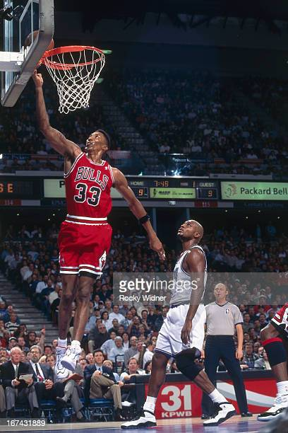 Scottie Pippen of the Chicago Bulls shoots the ball against the Sacramento Kings on February 1 1996 at Arco Arena in Sacramento California NOTE TO...
