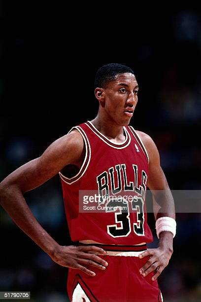 Scottie Pippen of the Chicago Bulls takes a break against the Atlanta Hawks during an NBA game circa 1987 at the Omni in Atlanta Georgia NOTE TO USER...