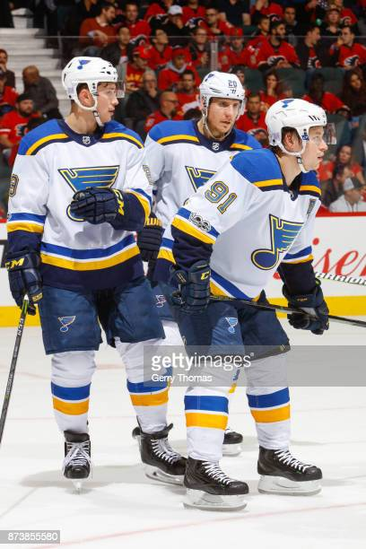 Scottie Upshall Alexander Steen and Vladimir Tarasenko of the St Luis Blues in an NHL game against the St Louis Blues at the Scotiabank Saddledome on...