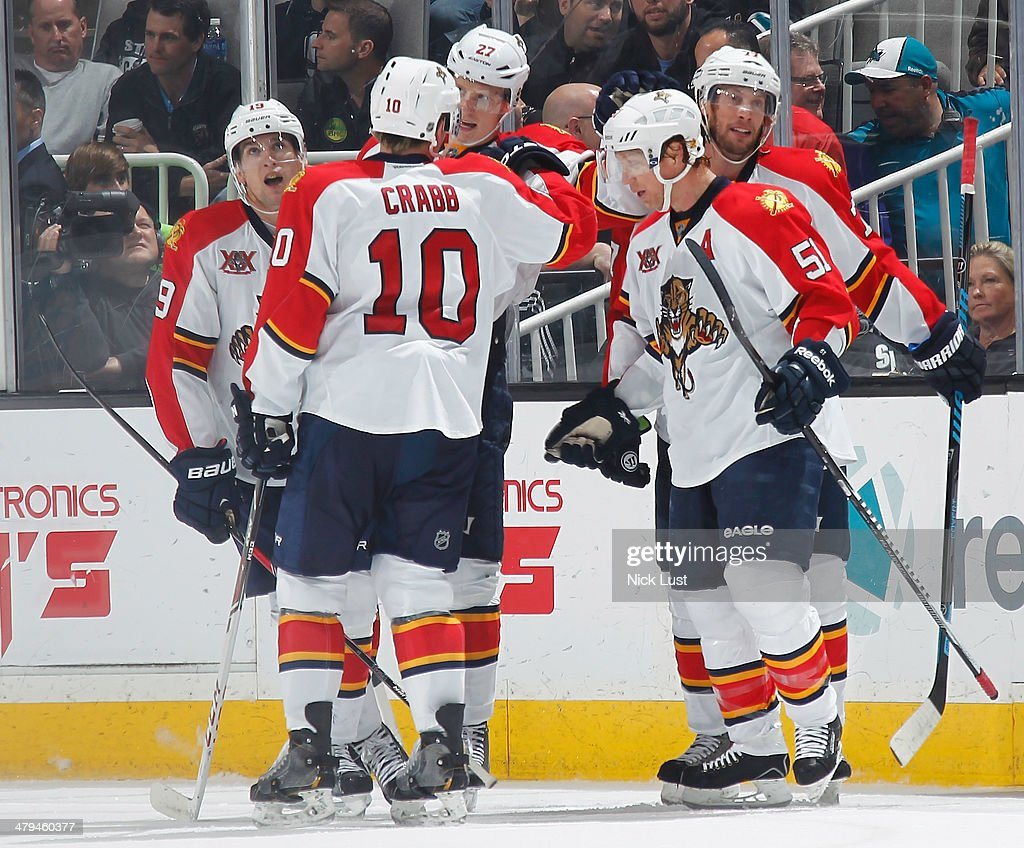 Scottie Upshall Joey CrabbNick Bjugstad Brian Campbell and Tom Gilbert of the Florida Panthers celebrate after a goal against the San Jose Sharks...
