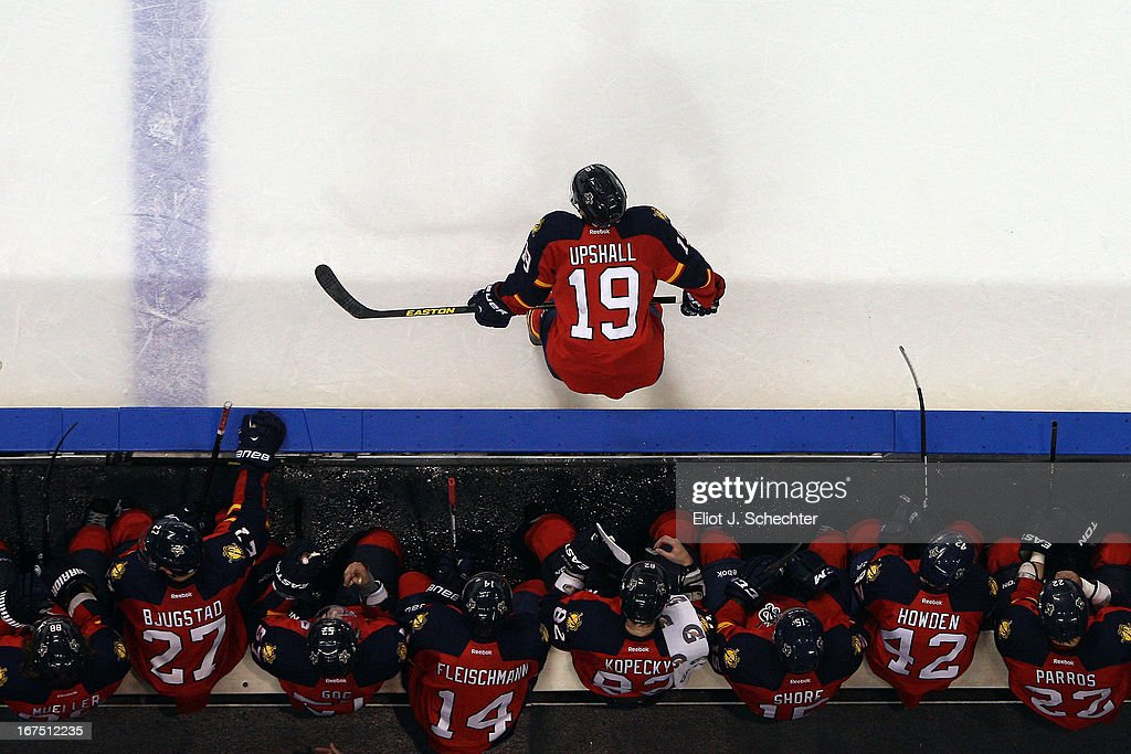 <a gi-track='captionPersonalityLinkClicked' href=/galleries/search?phrase=Scottie+Upshall&family=editorial&specificpeople=209198 ng-click='$event.stopPropagation()'>Scottie Upshall</a> #19 of the Florida Panthers cools off during a break in the action against the Toronto Maple Leafs at the BB&T Center on April 25, 2013 in Sunrise, Florida.