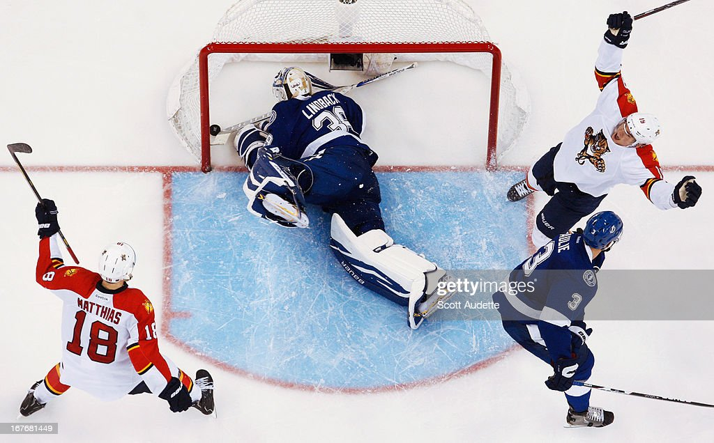 <a gi-track='captionPersonalityLinkClicked' href=/galleries/search?phrase=Scottie+Upshall&family=editorial&specificpeople=209198 ng-click='$event.stopPropagation()'>Scottie Upshall</a> #19 of the Florida Panthers scores past <a gi-track='captionPersonalityLinkClicked' href=/galleries/search?phrase=Anders+Lindback&family=editorial&specificpeople=7211274 ng-click='$event.stopPropagation()'>Anders Lindback</a> #39 of the Tampa Bay Lightning during the third period of the at the Tampa Bay Times Forum on April 27, 2013 in Tampa, Florida.