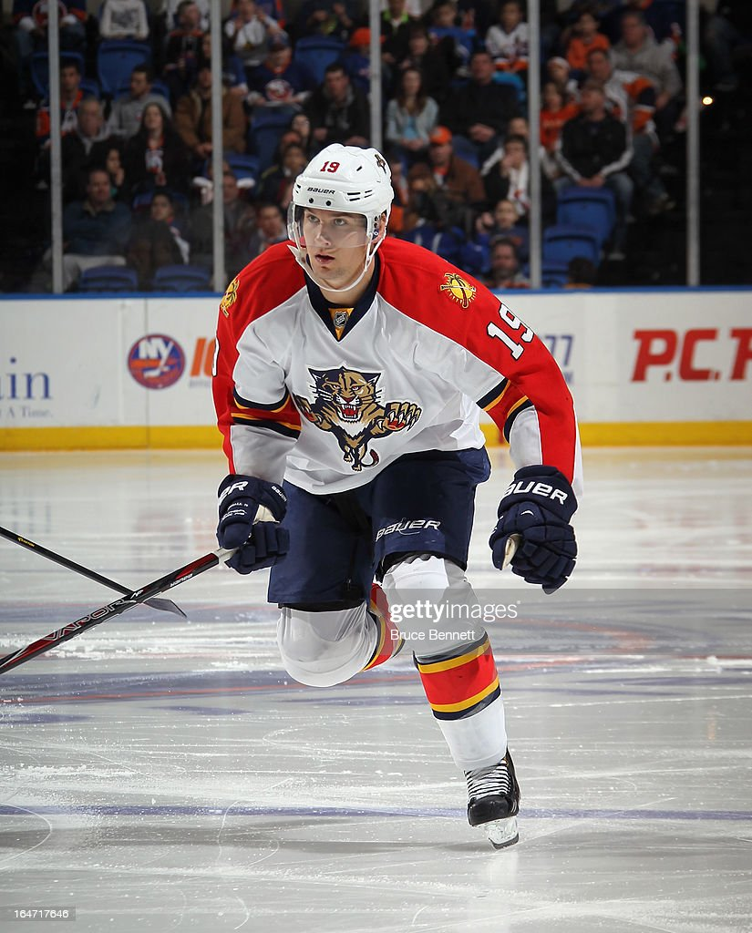 Scottie Upshall #19 of the Florida Panthers skates against the New York Islanders at the Nassau Veterans Memorial Coliseum on March 24, 2013 in Uniondale, New York.