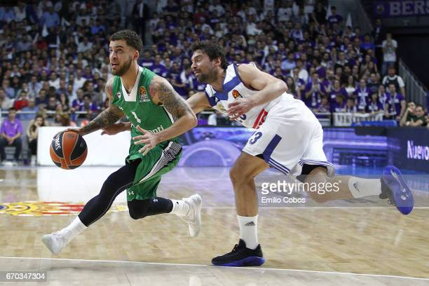 Scottie Wilbekin #1 of Darussafaka Dogus Istanbul in action during the 2016/2017 Turkish Airlines EuroLeague Playoffs leg 1 game between Real Madrid...