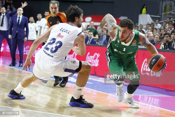 Scottie Wilbekin #1 of Darussafaka Dogus Istanbul in action during the 2016/2017 Turkish Airlines EuroLeague Playoffs leg 2 game between Real Madrid...