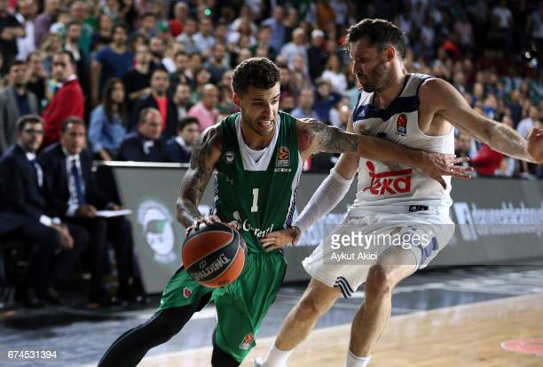Scottie Wilbekin #1 of Darussafaka Dogus Istanbul in action during the 2016/2017 Turkish Airlines EuroLeague Playoffs leg 4 game between Darussafaka...
