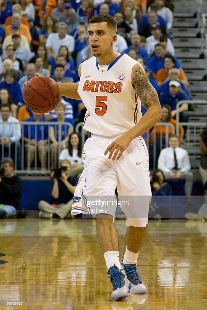 Scottie Wilbekin of the Florida Gators during the first half of the game against the Auburn Tigers at the Stephen C O'Connell Center on February 19...