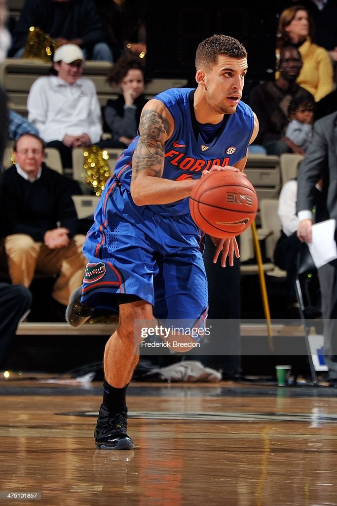 Scottie Wilbekin of the Florida Gators plays against the Vanderbilt Commodores at Memorial Gym on February 25 2014 in Nashville Tennessee