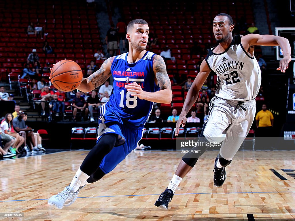 Scottie Wilbekin of the Philadelphia 76ers drives to the basket against Markel Brown of the Brooklyn Nets on July 15 2015 at the Thomas Mack Center...