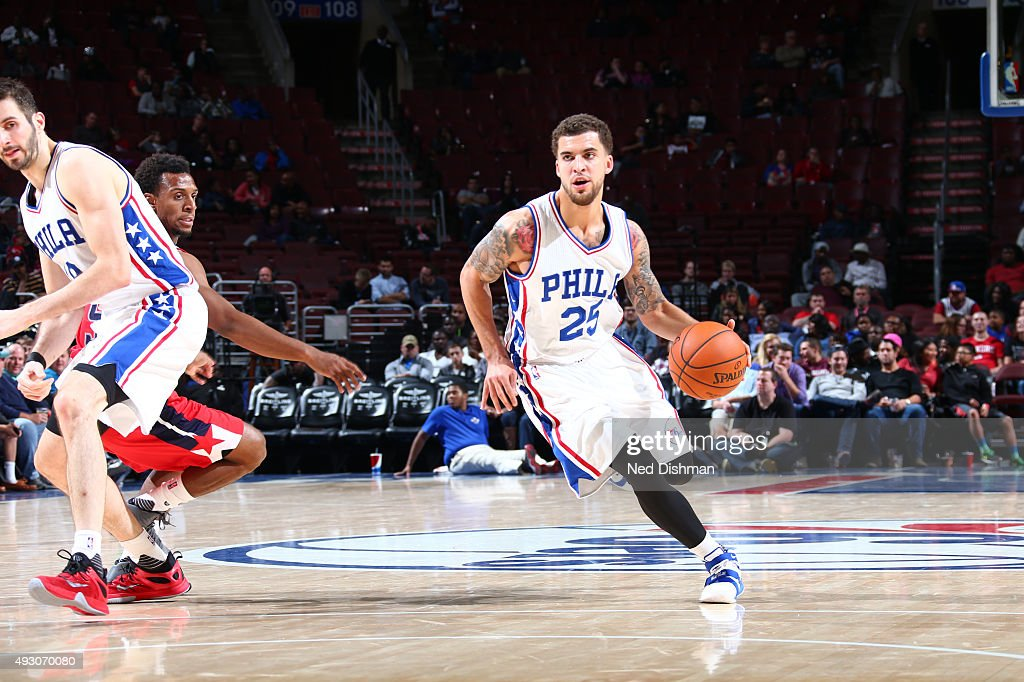 Scottie Wilbekin of the Philadelphia 76ers drives to the basket against the Washington Wizards during the preseason game on October 16 2015 at Wells...