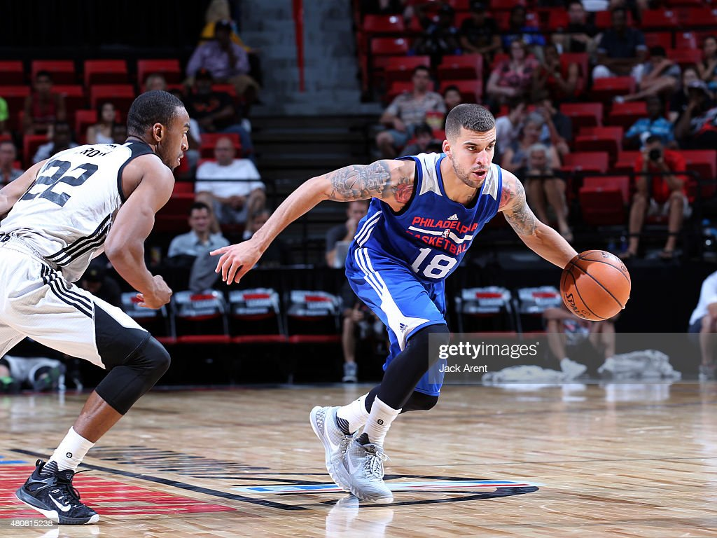 Scottie Wilbekin of the Philadelphia 76ers handles the ball against the Brooklyn Nets on July 15 2015 at the Thomas Mack Center in Las Vegas Nevada...