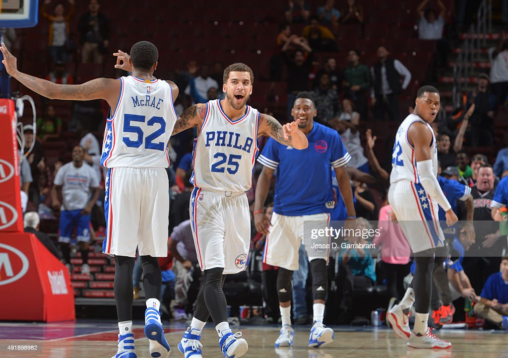 Scottie Wilbekin of the Philadelphia 76ers reacts after hitting the game winning shot with 1 second left on the clock against the Cleveland Cavaliers...