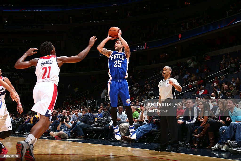 Scottie Wilbekin of the Philadelphia 76ers shoots against the Washington Wizards during a preseason game on October 6 2015 at Verizon Center in...