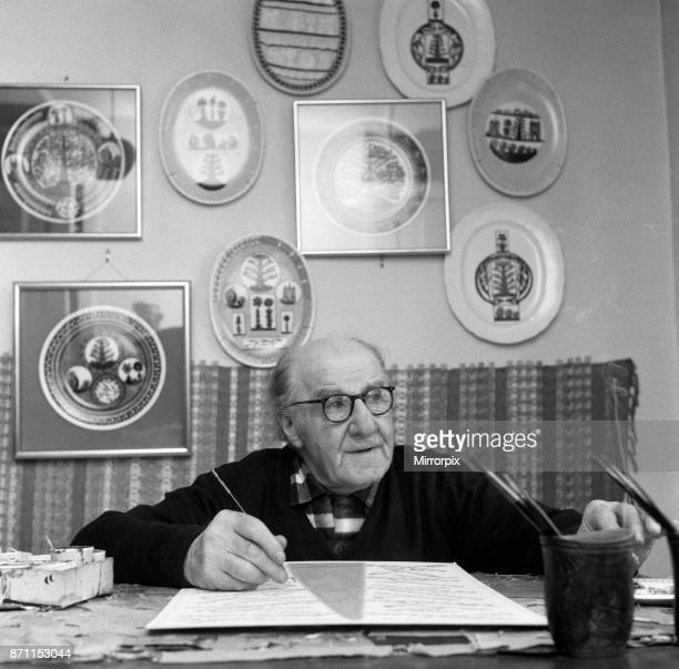 Scottie Wilson the 74 year old Scottish artist working at his home in Lynton Road Kilburn 25th May 1967