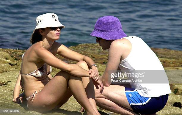 Scottish actor Ewan McGregor with his wife Eve and daughter Clara at Bondi Beach on March 18 2000 in Sydney Australia