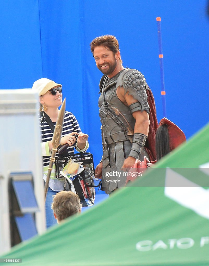 Scottish actor <a gi-track='captionPersonalityLinkClicked' href=/galleries/search?phrase=Gerard+Butler+-+Actor&family=editorial&specificpeople=202258 ng-click='$event.stopPropagation()'>Gerard Butler</a> on set of his new film 'Gods of Egypt' at Centennial Park on May 27, 2014 in Sydney, Australia.