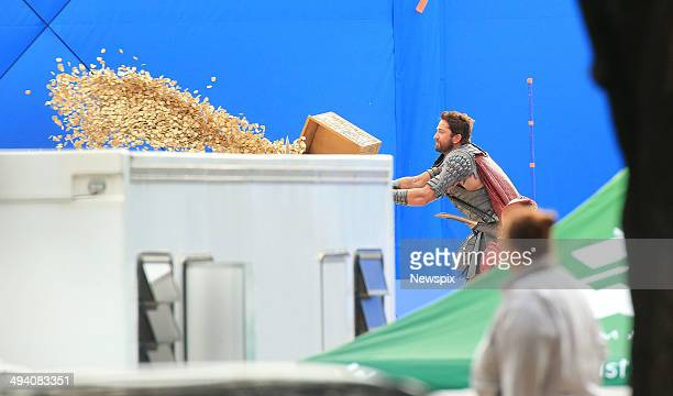Scottish actor Gerard Butler on set of his new film 'Gods of Egypt' at Centennial Park on May 27 2014 in Sydney Australia