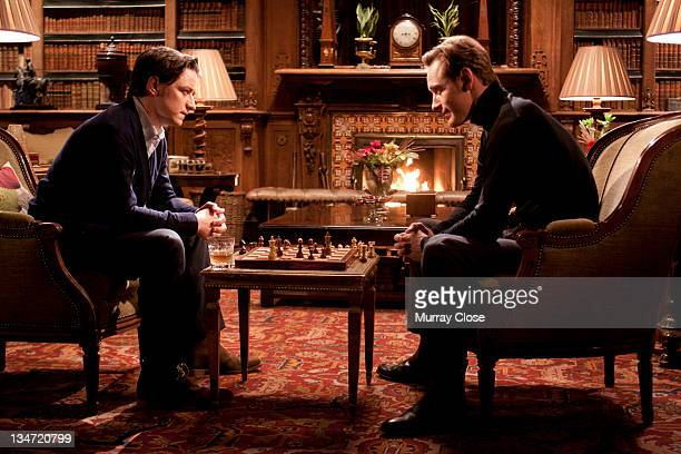 Scottish actor James McAvoy as Charles Xavier and Michael Fassbender as Erik Lehnsherr aka Magneto in a scene from the film 'XMen First Class' 2011...