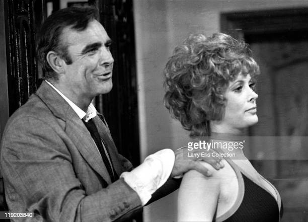 Scottish actor Sean Connery and American actress Jill St John on the set of the James Bond film 'Diamonds Are Forever' 1971
