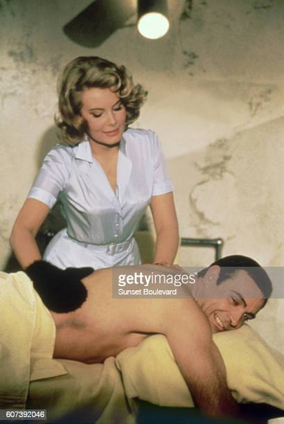 Scottish actor Sean Connery and American actress Molly Peters on the set of Thunderball