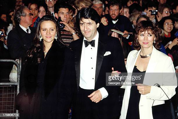 Scottish actor Tom Conti his wife Kara Wilson and his daughter Nina on October 11 1989 in London England