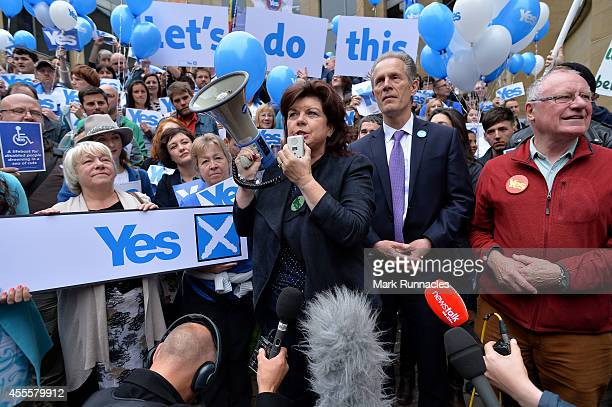 Scottish actress Elaine C Smith speaks at a rally as Chief Executive of Yes Scotland Blair Jenkins and Chairman of Yes Scotland Dennis Canavan look...