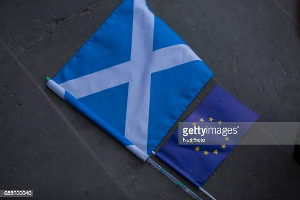 A Scottish and a flag of the EU lay on a step during the 7th 'Pulse of Europe' event in Berlin organized to demonstrate pro the EU at Gendarmenmarkt...